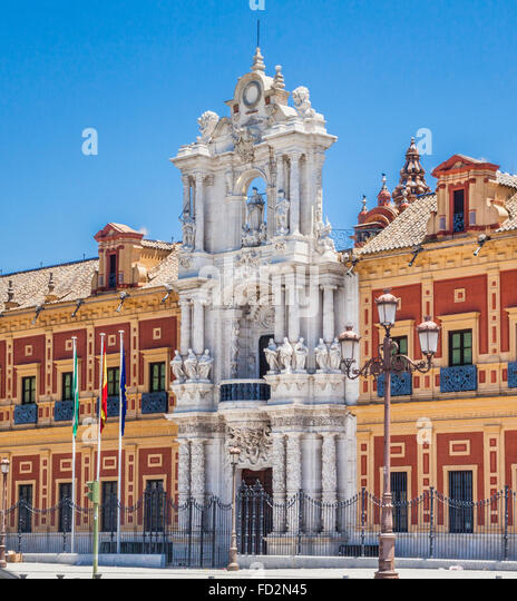 Spain, Andalusia, Province of Seville, Seville, Baroque architecture of the Palacio San Telmo - Stock-Bilder