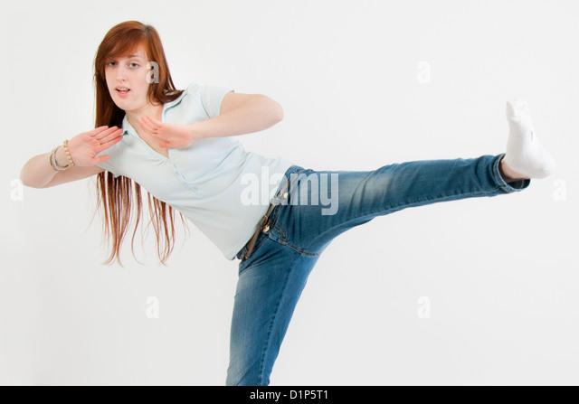 girl doing gymnastics - Stock Image