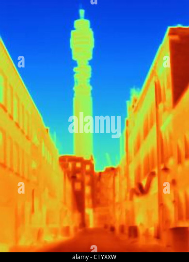 Thermal image of BT Tower - Stock-Bilder