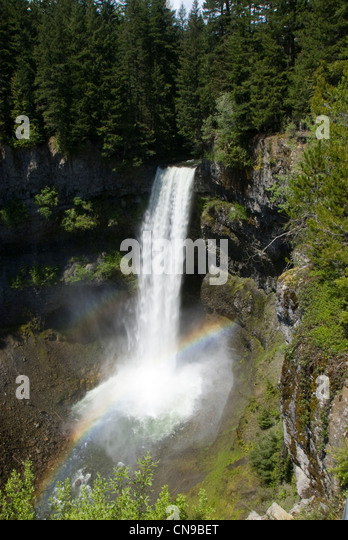 Brandywine Falls with rainbow, Whistler, British Colombia, Canada - Stock Image