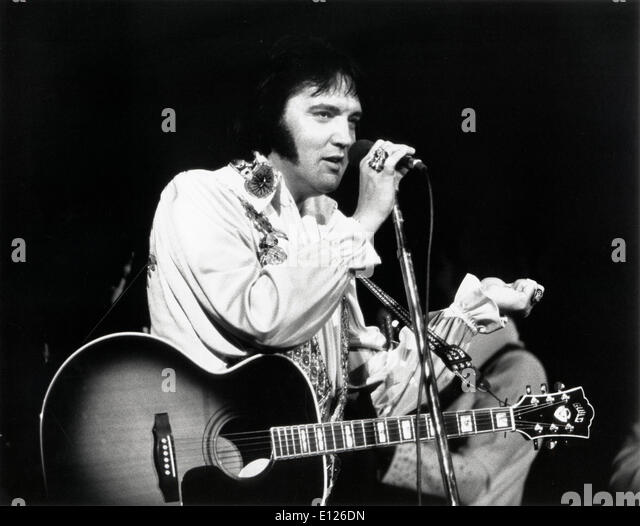 Las Vegas, Nevada, U.S.- Singer ELVIS PRESLEY aka 'The King' plays live in Las Vegas.UMAP - Stock Image