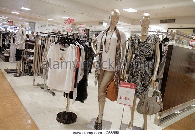 Tokyo Japan Ueno Matsuzakaya Ueno Department Store shopping women's clothing kanji hiragana katakana Japanese - Stock Image