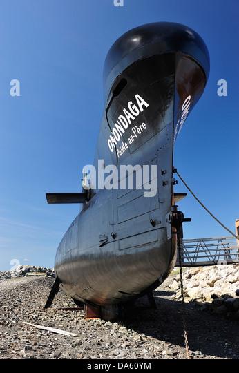 Canada, Onondaga  Pointe au Pere, Rimouski, beached, submarine, historical, educational, ship, summer - Stock Image
