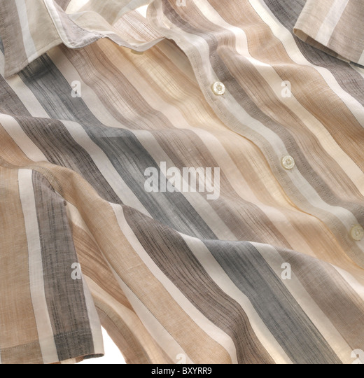 mens striped short sleeved shirt - Stock Image