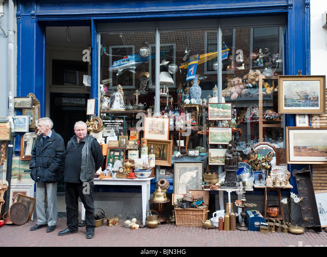 Exterior of antique shop in Utrecht The Netherlands - Stock Image