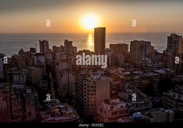 Skyscrapers at evening in Beirut. - Stock Image