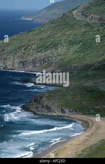 West Indies St. Kitts Southeast Peninsula Dr. Kennedy Simmonds Highway Atlantic coast hills - Stock Image