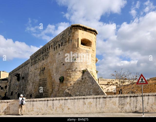Fort St Elmo massive fortification, Valletta - Stock-Bilder