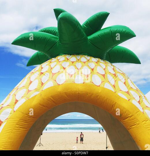 Giant floated pineapple on the beach with an ocean view - Stock Image