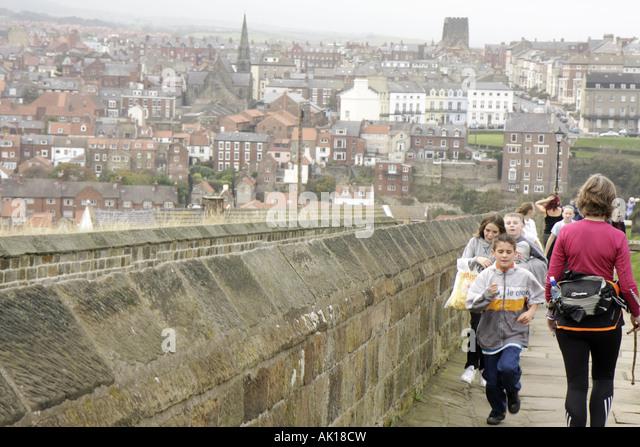 UK, England, Whitby, students near 199 Steps, - Stock Image