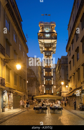 Portugal Lisbon Baixa Chiado Elevator de Santa Justa in twilight Built in 1902 by Raul Mesnier du Ponsard new gotic - Stock Image