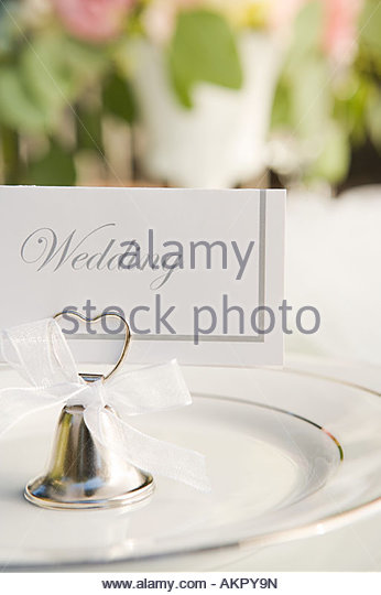 Place setting at a wedding - Stock Image