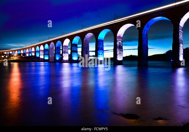 Berwick upon Tweed, England,  25 January 2016. Burns Night the Royal Border Bridge crossing the River Tweed in Englands - Stock Image