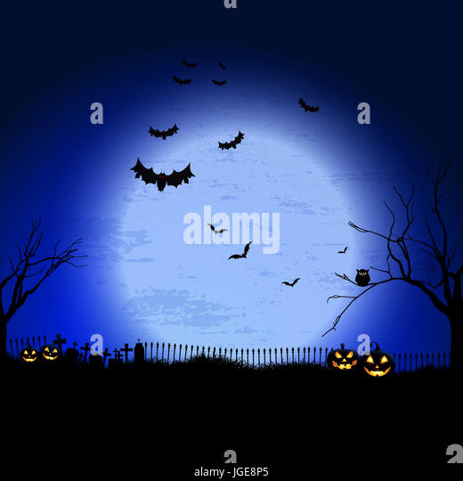 Spooky Halloween landscape with graveyard and bats - Stock Image
