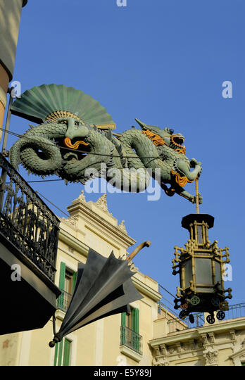 Barcelona ramblas la rambla placa stock photos barcelona - Art deco barcelona ...