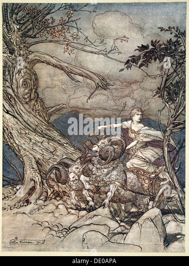 'Fricka approaches in anger', 1910.  Artist: Arthur Rackham - Stock Image