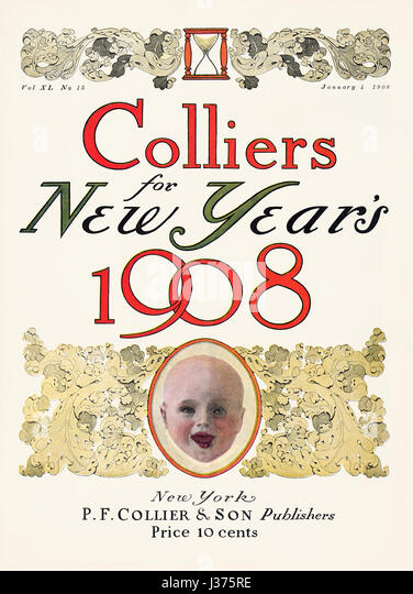 Front cover of Colliers Magazine for 4th January 1908, celebrating the New Year. - Stock Image