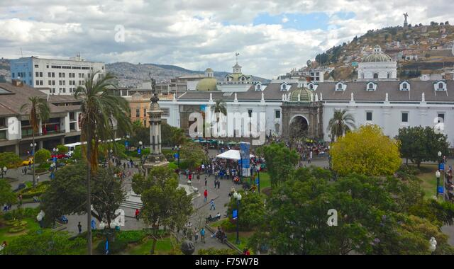 Plaza Grande, the central square in the historical, colonial center of Quito, Ecuador. - Stock Image