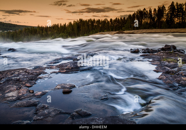 River flowing over rocks, Storforsen, Lapland, Sweden - Stock Image
