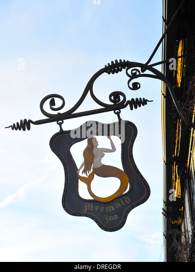 Sign for the Mermaid Inn pub and restaurant, Rye, Sussex, UK - Stock Image