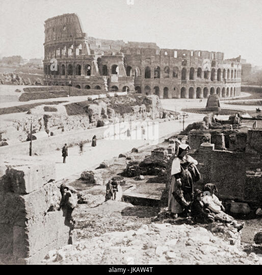 The Colosseum, Rome, Italy in 1900 - Stock Image