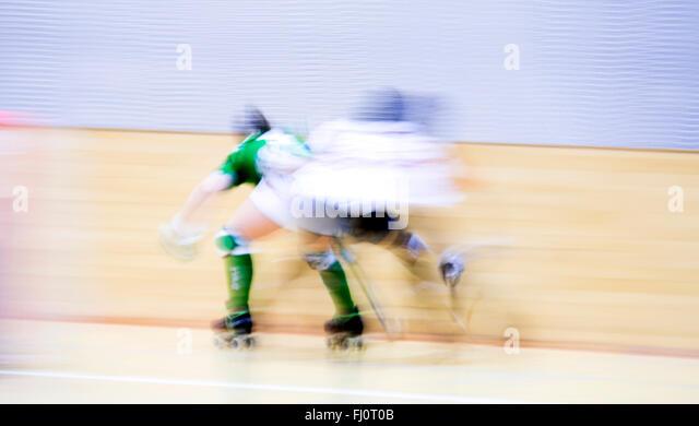 Gijon, Spain. 27th February, 2016. Roller hockey match of Spanish Women's OK League between Hostelcur Gijon - Stock Image