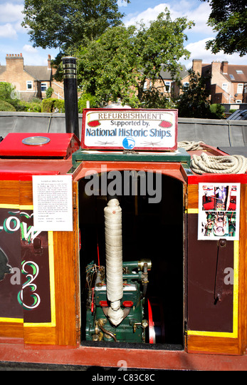 2DM diesel engine, installed in traditional working narrowboat, Swallow, moored on the Trent and Mersey Canal - Stock Image