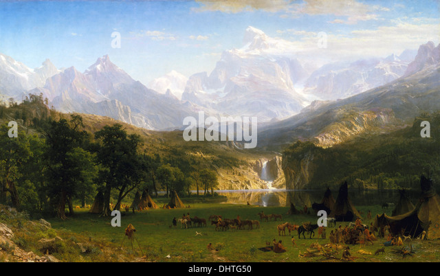 The Rocky Mountains, Lander's Peak - by Albert Bierstadt, 1863, Hudson River School - Stock Image