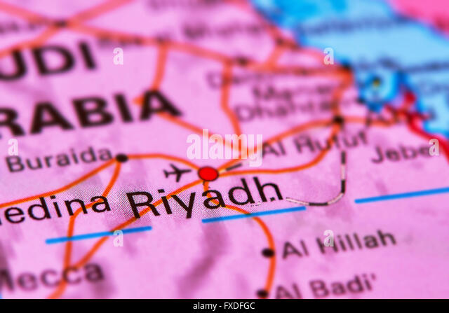 Riyadh, Capital City of Saudi Arabia in the Middle East on the World Map - Stock Image