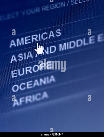 International web site select your region localization menu, selecting American region - Stock Image