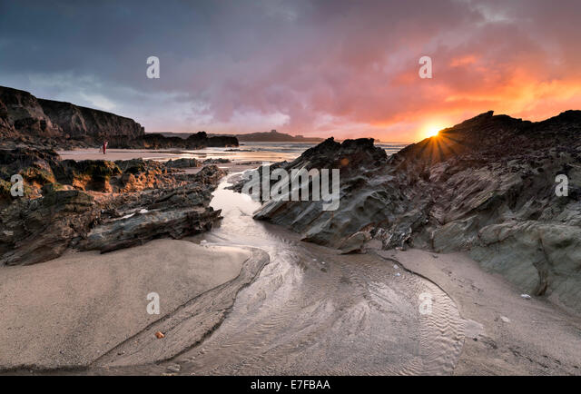 Sunset at Lusty Glaze beach at Newquay in Cornwall - Stock Image