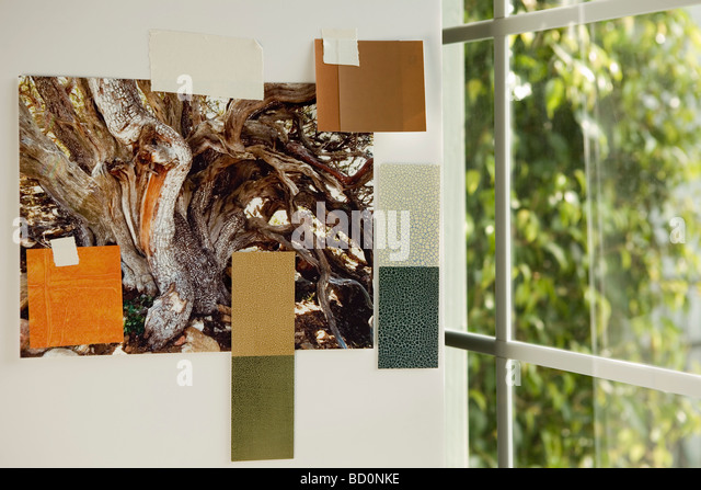 Paint swatches on wall by window - Stock Image
