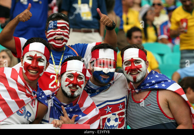 Salvador, Brazil. 01st July, 2014. World Cup 2nd Round. Belgium versus USA in the last 16 knockout stage. USA fans - Stock-Bilder
