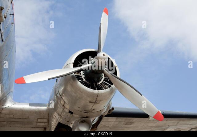 Propeller engine of vintage airplane DC-3 - Stock Image