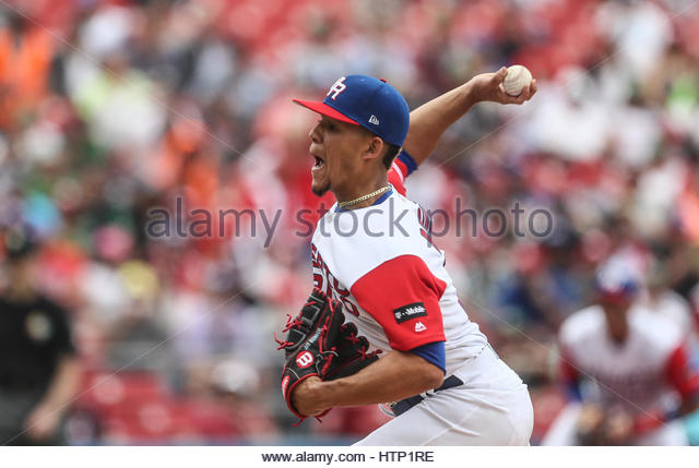 Guadalajara, Mexico. 12th Mar, 2017. Mike Avilés of Puerto Rico in action during the World Baseball Classic - Stock-Bilder