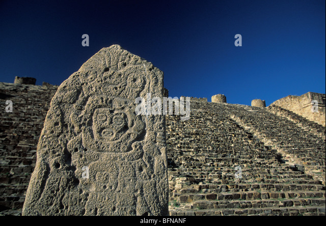 Pre columbian sculpture zapotec ruins monte stock photos