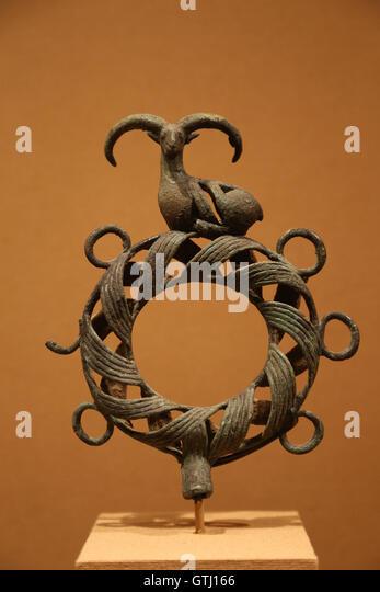 Standard surmounted by a ram. Bronze. Northwestern Iran. Late 2nd millennium B.C. - Stock Image