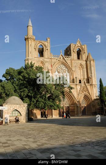 Lala Mustafa Paşa Mosque (St Nicholas Cathedral) Kyrenia North Cyprus - Stock Image