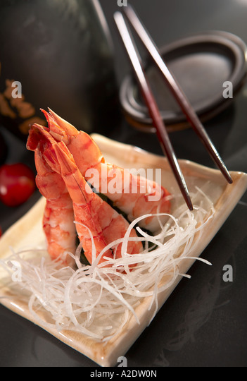 sashimi made of prawn - Stock Image