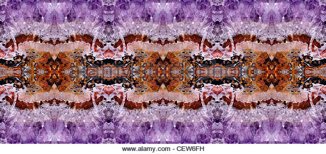 Amethyst crystals - repeated to form symmetrical abstract pattern - Stock Image