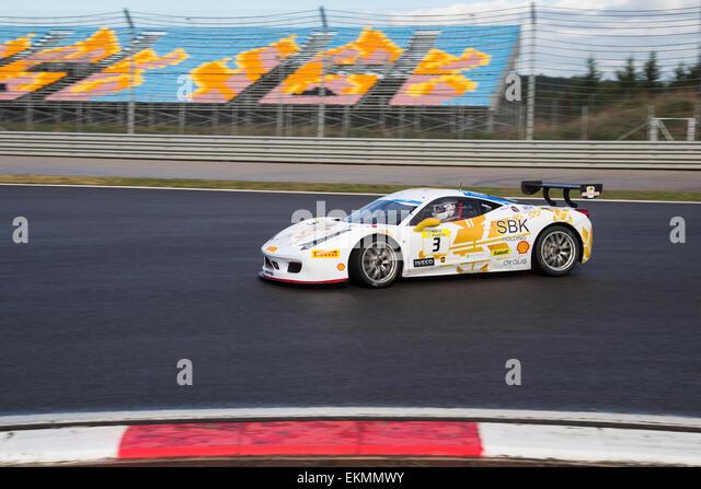 ISTANBUL, TURKEY - OCTOBER 25, 2014: Costantino Bertuzzi drives Ferrari 458 Challenge EVO of Rossocorsa Racing Team - Stock Image