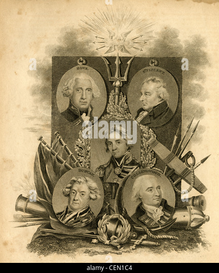 1816 engraving, British Admirals of the early 19th century. - Stock Image