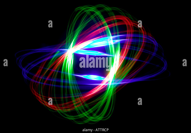 Abstract physiogram pattern made with three coloured lights - Stock-Bilder