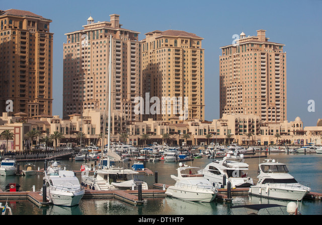 Marina at The Pearl Qatar, Doha, Qatar, Middle East - Stock Image