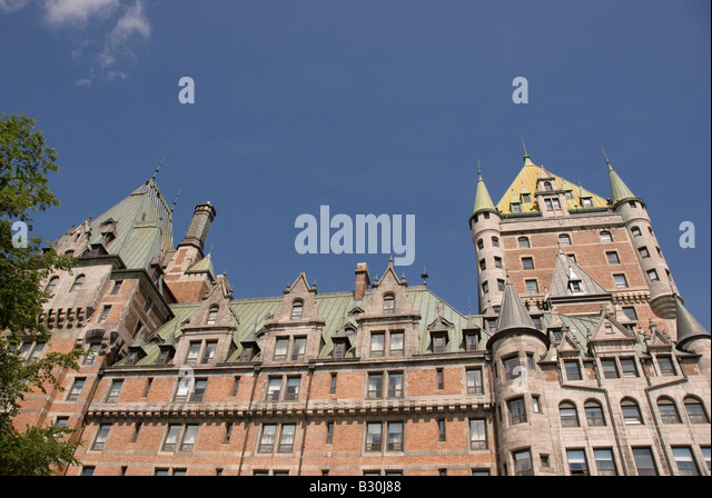 Chateau Frontenac hotel old Quebec City skyline historic landmark canada - Stock Image