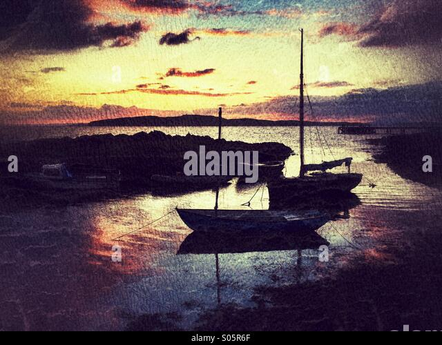 Boats in the harbour. Portencross, Scotland, uk - Stock Image