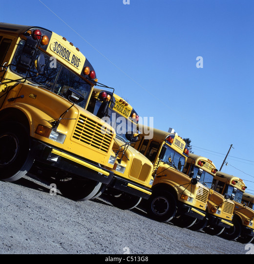 Parked school buses - Stock Image