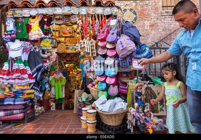 Los Angeles California CA L.A. Los Angeles Plaza Historic District Mexican heritage Olvera Street plaza marketplace - Stock Image