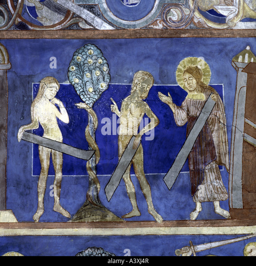 fine arts, religious art, Adam and Eve, fall of men, painting, fresco, 13th century, church of Bjäresjö, - Stock Image