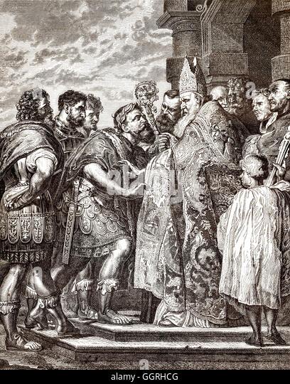Aurelius Ambrosius or Saint Ambrose, bishop of Milan, barring emperor Theodosius I.  from Milan Cathedral - Stock-Bilder